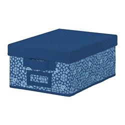 STORSTABBE - Kotak dengan penutup, biru/putih