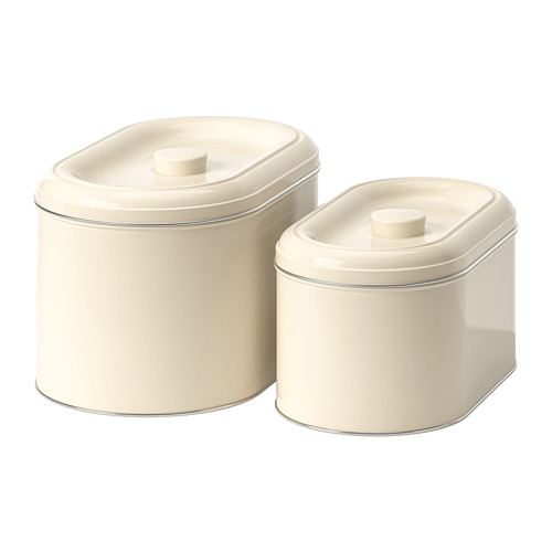 BERÖMLIG tin with lid set of 2