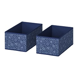 STORSTABBE - Kotak, biru/putih