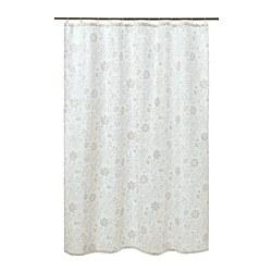 TYCKELN - Tirai shower, putih/krem tua