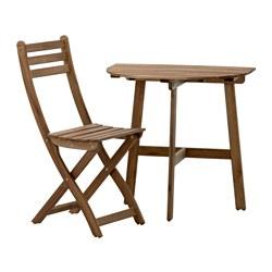 ASKHOLMEN - Meja dinding+1 kursi lipat, l.ruang, diwarnai abu-abu cokelat