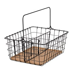 PLEJA - Wire basket with handle, black