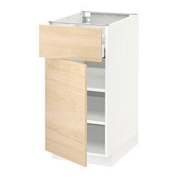 METOD/MAXIMERA - Kabinet dasar dengan laci/pintu, putih/Askersund efek kayu ash terang