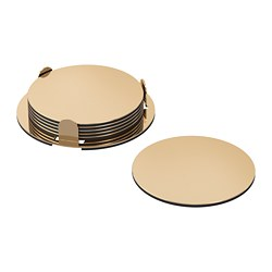 GLATTIS - Coasters with holder, brass-colour
