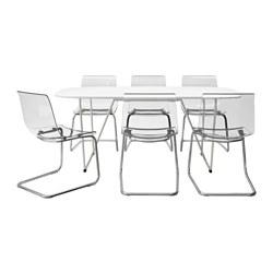 OPPEBY/BACKARYD/TOBIAS - Meja dan 6 kursi, putih/dilapisi krom transparan