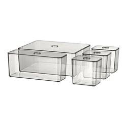 GODMORGON - Box with lid, set of 5, smoked