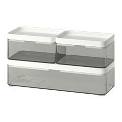 BROGRUND - Kotak, set isi 3, abu-abu transparan/putih
