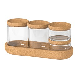 SAXBORGA - Jar with lid and tray, set of 5, glass cork