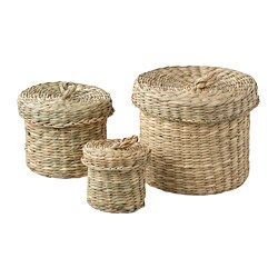LJUSNAN - Box with lid, set of 3, seagrass
