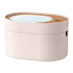 SAXBORGA - Storage box with mirror lid, plastic cork