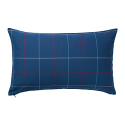 HÄSSLEBRODD - Cushion, blue/multicolour check