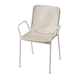 TORPARÖ - Chair with armrests, in/outdoor, white/beige