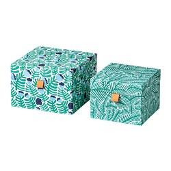 LANKMOJ - Kotak dekorasi, set isi 2, hijau/biru/motif floral