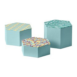 LANKMOJ - Kotak dekorasi, set isi 3, biru muda/berpola