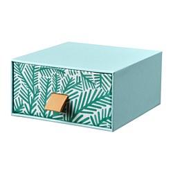LANKMOJ - Lemari laci mini, biru muda/motif daun