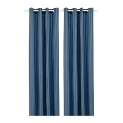 MAJRID - Room darkening curtains, 1 pair, blue