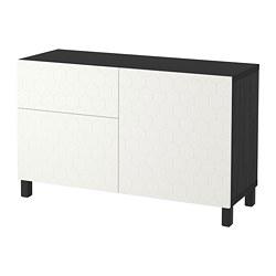BESTÅ - Storage combination w doors/drawers, black-brown/Vassviken/Stubbarp white