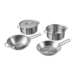 DUKTIG - Peralatan masak mainan, set isi 5, warna baja tahan karat
