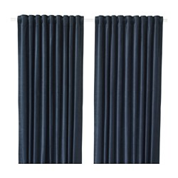 SANELA - Room darkening curtains, 1 pair, dark blue