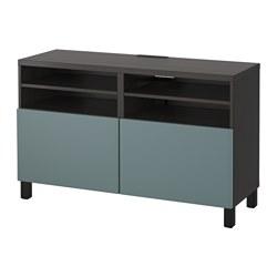 BESTÅ - TV bench with doors, black-brown/Valviken grey-turquoise