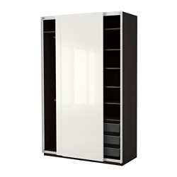 PAX - Wardrobe, black-brown/Hasvik high-gloss/white