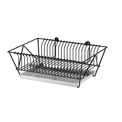 FINTORP - Dish drainer, black/galvanised
