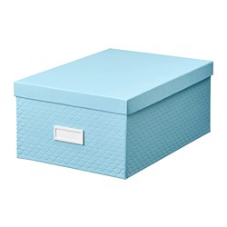 PALLRA - Storage box with lid, light blue