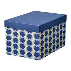 TJENA - Kotak penyimpanan dengan penutup, biru/berpola