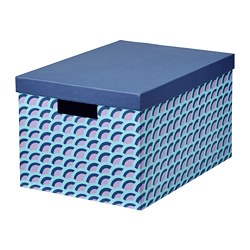 TJENA - Storage box with lid, blue/multicolour