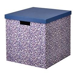 TJENA - Kotak penyimpanan dengan penutup, biru/ungu/berpola