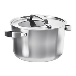 SENSUELL - Pot with lid, stainless steel/grey