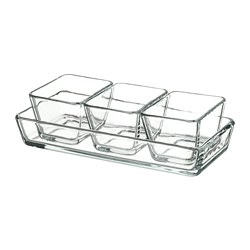 MIXTUR - Oven/serving dish set of 4, clear glass