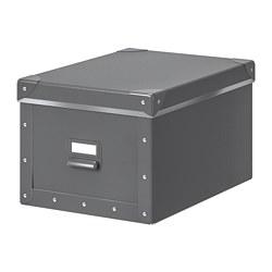 FJÄLLA - Kotak penyimpanan dengan penutup, abu-abu tua