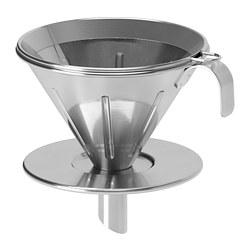 ÖVERST - 3-piece metal filter coffee set, stainless steel