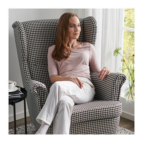 STRANDMON - kursi bersayap, Vibberbo hitam/krem | IKEA Indonesia - PH166294_S4
