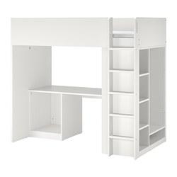 SMÅSTAD - Loft bed frame w desk and storage, white, 90x200 cm