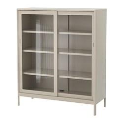 IDÅSEN - Cabinet with sliding glass doors, beige