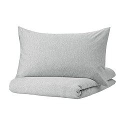 SPJUTVIAL - Sarung duvet dan sarung bantal, abu-abu muda/mélange, 150x200/50x80 cm