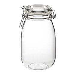 KORKEN - KORKEN, stoples dengan penutup, kaca bening, 1.8 l