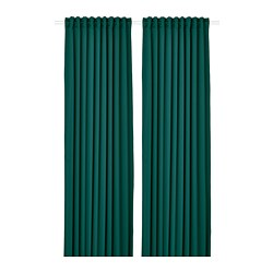 MAJGULL - Block-out curtains, 1 pair, dark turquoise, 145x250 cm