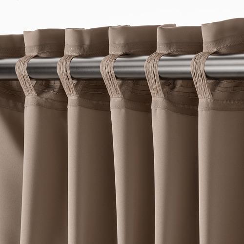 MAJGULL - room darkening curtains, 1 pair, grey/brown, 145x250 cm | IKEA Indonesia - PE783716_S4