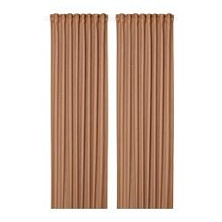 SILVERLÖNN - Sheer curtains, 1 pair, light brown, 145x250 cm