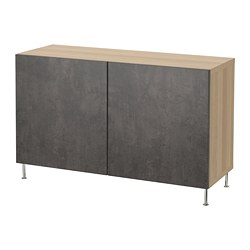 BESTÅ - Kombinasi penyimpanan dengan pintu, efek kayu oak diwarnai putih Kallviken/Stallarp/abu-abu tua kesan beton