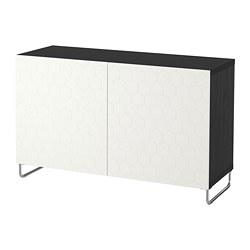 BESTÅ - Kombinasi penyimpanan dengan pintu, hitam-cokelat/Vassviken/Sularp putih