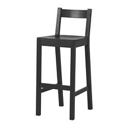NORDVIKEN - Kursi bar dengan sandaran, hitam