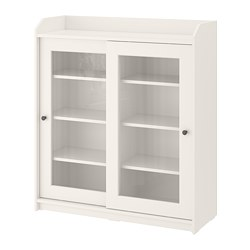 HAUGA - Glass-door cabinet, white, 105x116 cm