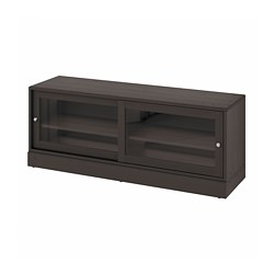 HAVSTA - TV bench with plinth, dark brown, 160x47x62 cm