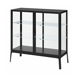 MILSBO - Glass-door cabinet, anthracite, 101x100 cm