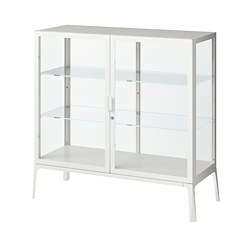 MILSBO - Glass-door cabinet, white, 101x100 cm
