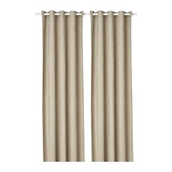 BIRTNA - Block-out curtains, 1 pair, beige
